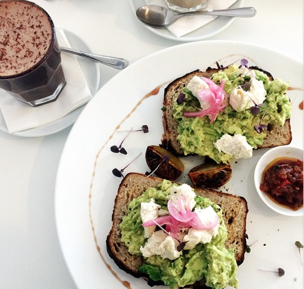 Breakfast at Raw from Earth & Water in Burleigh Heads - Smashed avo & feta mmmmm! Image:  carmel_louise