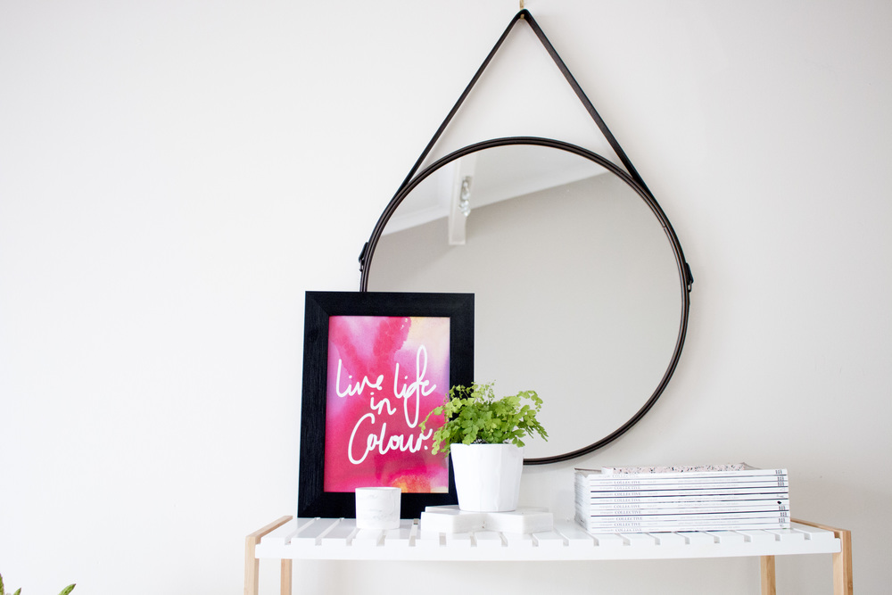 Product Photography & Styling   Artwork -  The Little Things Design  Stand -  Mocka Australia  Mirror -  Kmart Australia