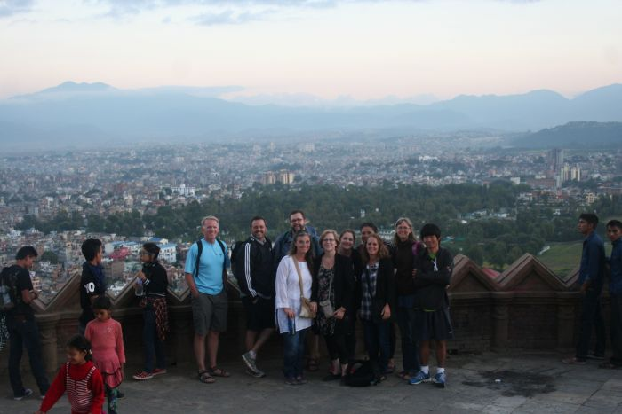 We were also able to do some sightseeing around Kathmandu. Here we are at the Monkey Temple with the city in the background below us.