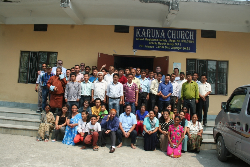 Mobile training of Indian, Bhutanese, and Nepali pastors at Karuna Church near the Bhutan border.