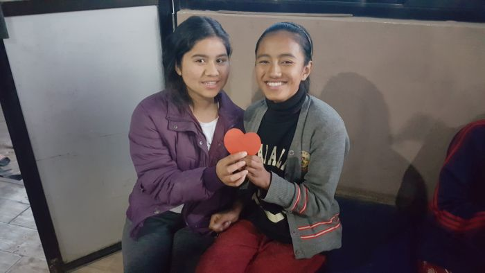 Susma and Yangzee found matching halves of a heart in one of our activities.