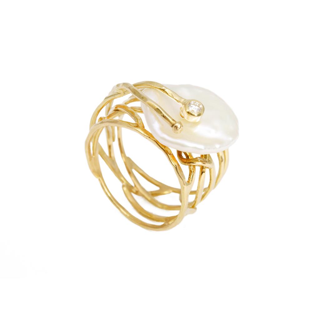 Geel Goud 18 Karaat met Zuidzee Parel en diamant