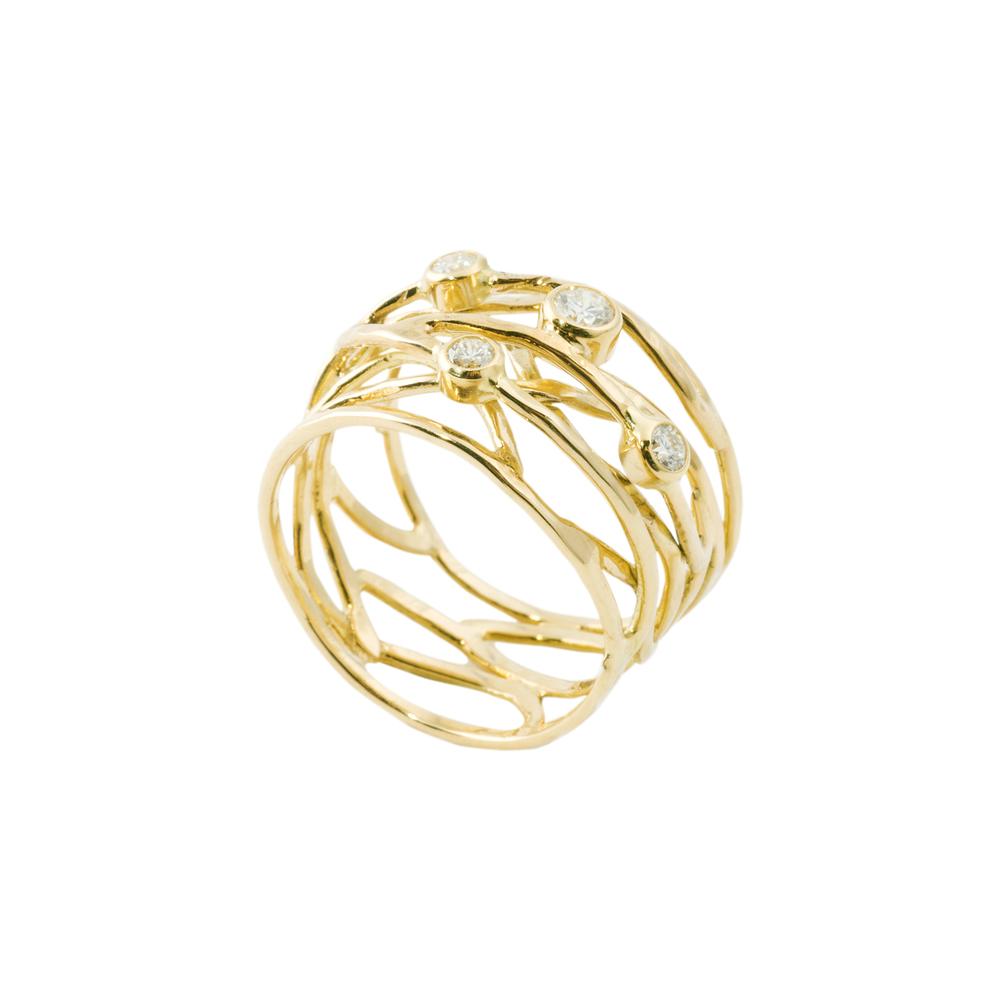 Geel Goud 18 Karaat met 4 x Diamant