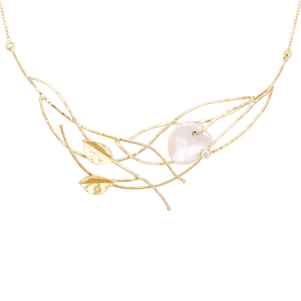 Halsketting met Wilde zuidzeeparel en briljant diamant