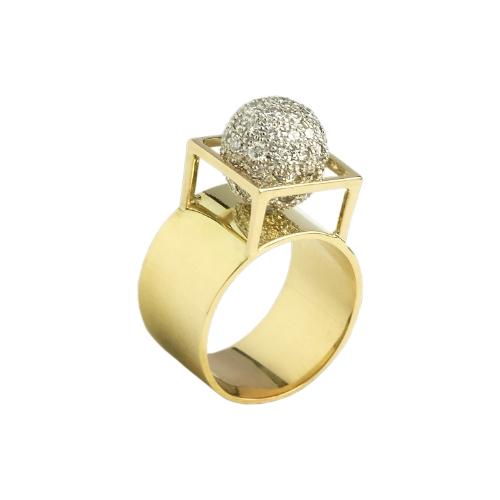 Geel gouden Ring met diamanten in briljantslijpsel
