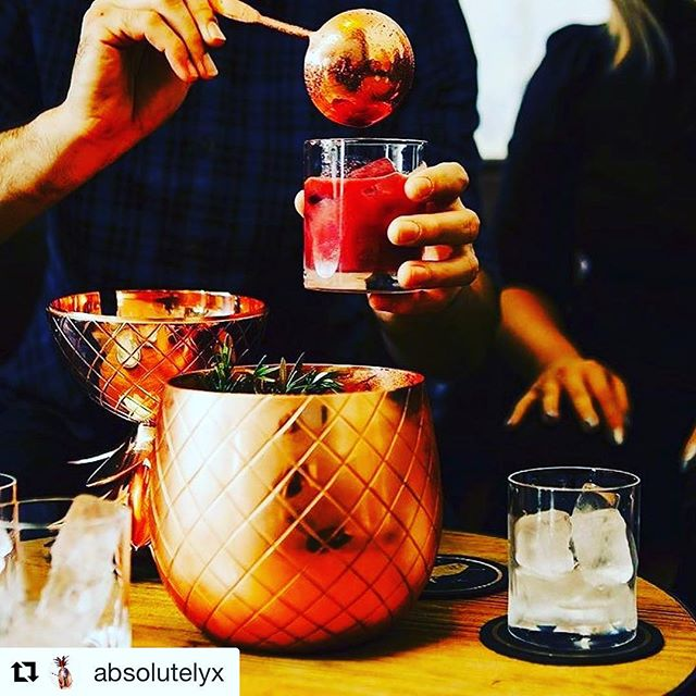 #Enjoy the @evolutionspirits with @absolutelyx 👏🏻👏🏻 This one is for #you. Taking the day off to savor Absolut Elyx, black pepper, Bols yogurt, cachaca, citrus, and #blackberry punch #CopperMakesItBetter 📸 @fox_zilla #Madrid #Abril @salondegourmets 🍸👌