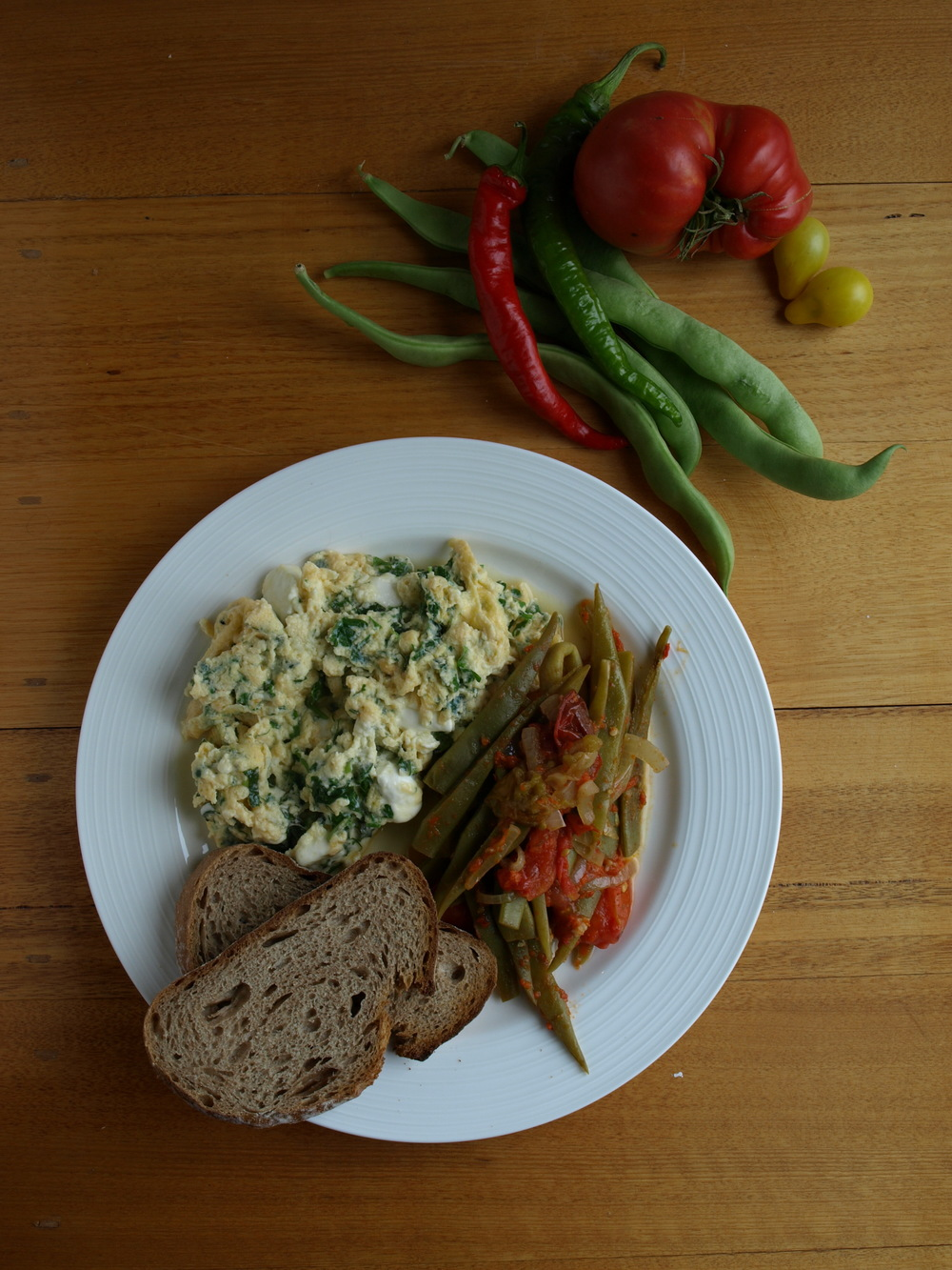 Harissa Green Beans with Herb and Fetta Omelette