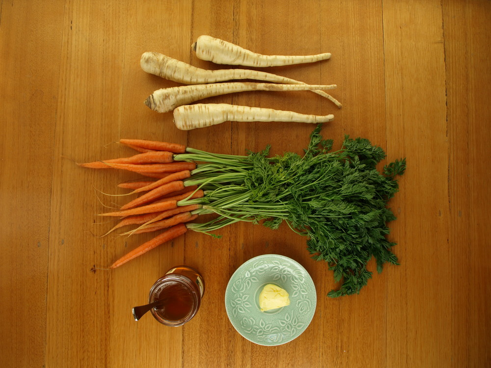 Caramelised Roast Parsnip and Carrot Ingredients