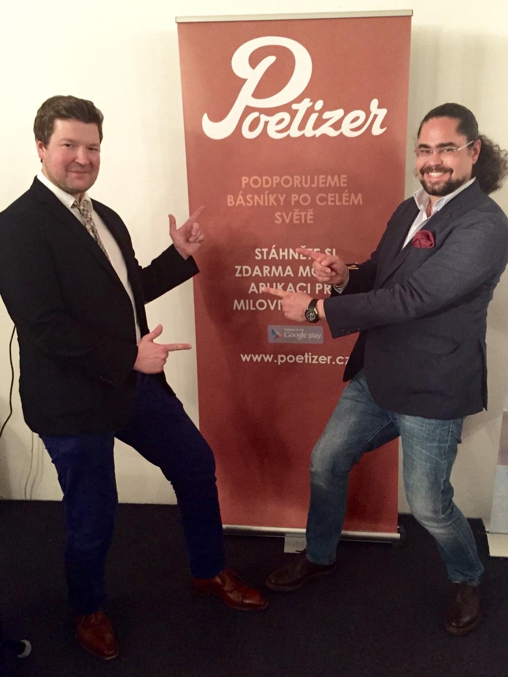 Lukáš Sedláček of ELAI and Tomáš Studeník, CD at Confidence Digital unveiling Poetizer app.
