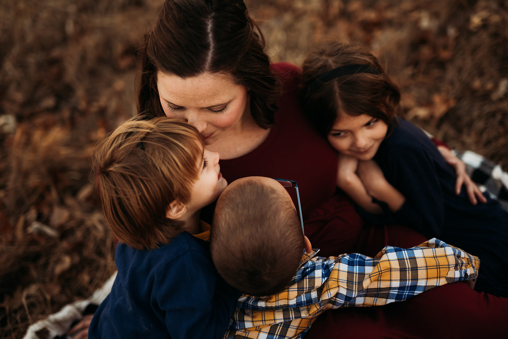 Candid fall family session in Valley Falls Kansas
