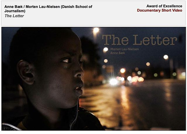 Our webdoc 'The Letter' won an Award of Excellence in the international 'College Photographer of the Year' in the Documentary Shot Video-category this weekend! We are really grateful and honored about this, but what we are even more happy to realize is, that Abdi and his family are having their case resumed. @anne_baek and @mortenlaunielsen