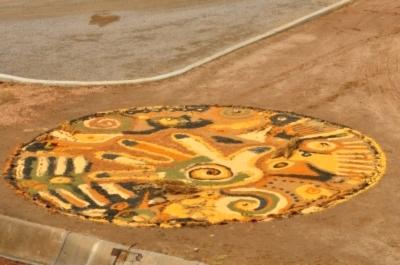 Joshua Willis, Solstice Mandala, Corn, Millet, Sunflower Seed, Milo, Sorghum, 15' Diameter, 2009