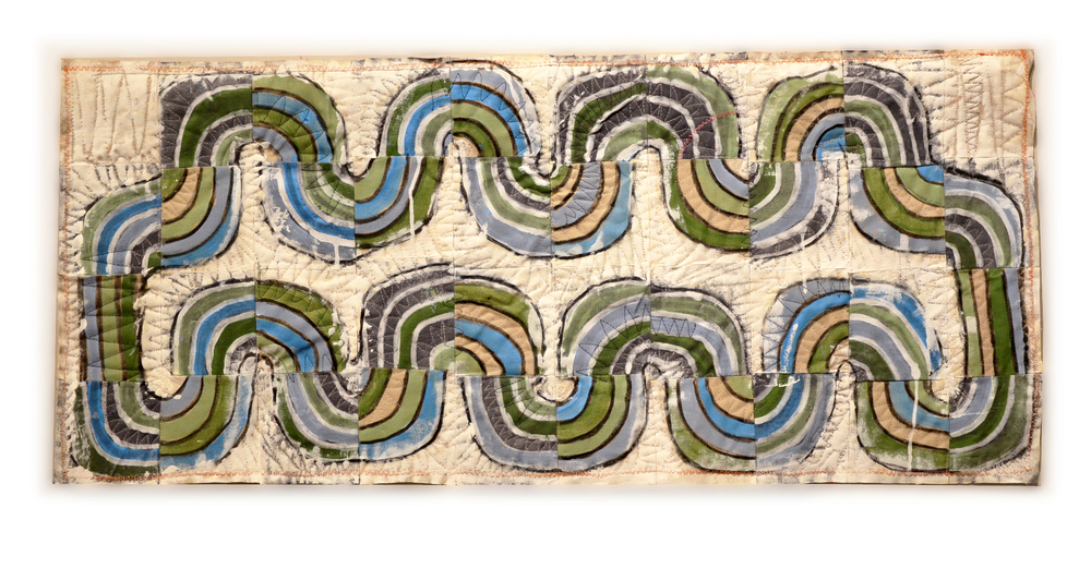 "J. Willis, ""Water Cycle #2,"" Primed Raw Linen, Acrylic, 24"" x 40"", 2016"