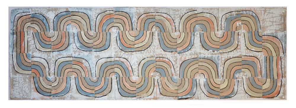 "J. Willis, ""Water Cycle,"" Primed Raw Linen, Acrylic, 24""x 78"",  2016"