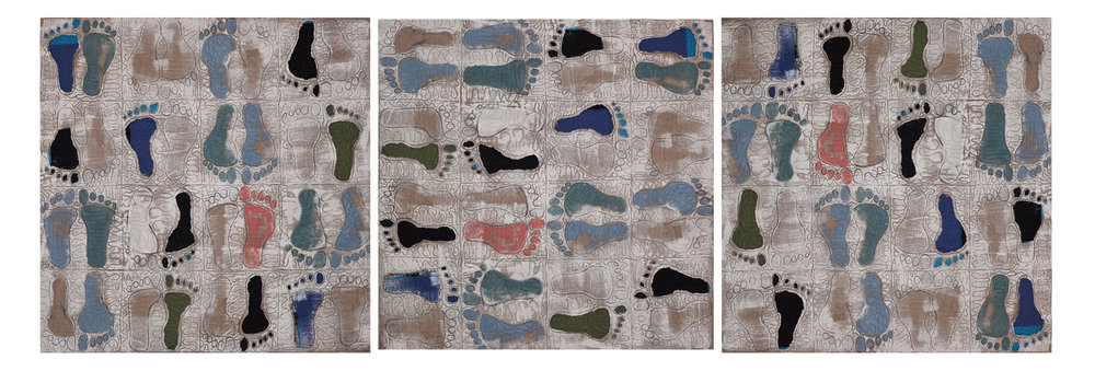 """Willis, """"Walkabout,"""" Primed Raw Linen, Acrylic, Cotton, 40""""x 120"""",  2016"""