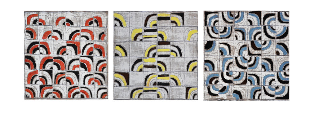 "Willis, Joshua R., ""Quarter Turns,"" Primed Raw Linen, Acrylic, Cotton, 12"" x 36"",2016"