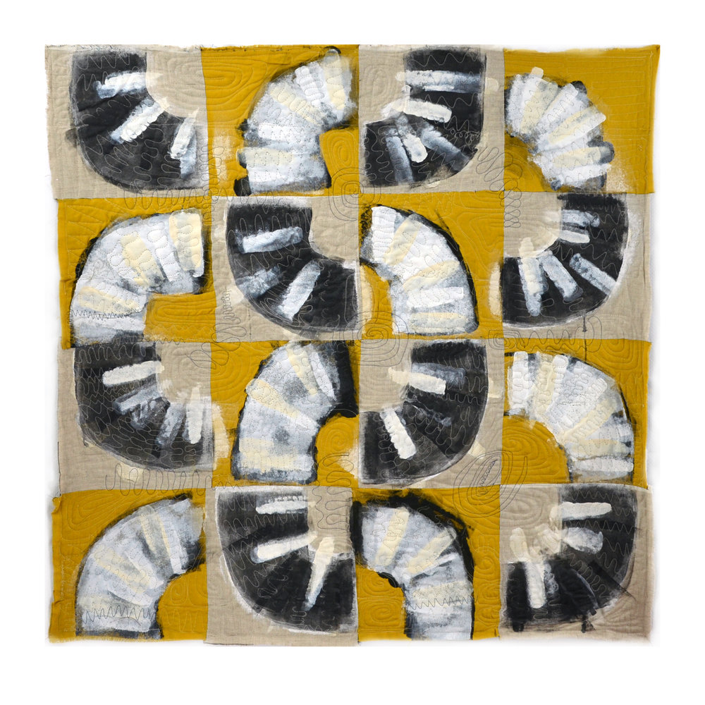 "Willis, Joshua, ""Quarter Turns Yellow,"" Raw Linen, Acrylic, 40""x40"", 2015"