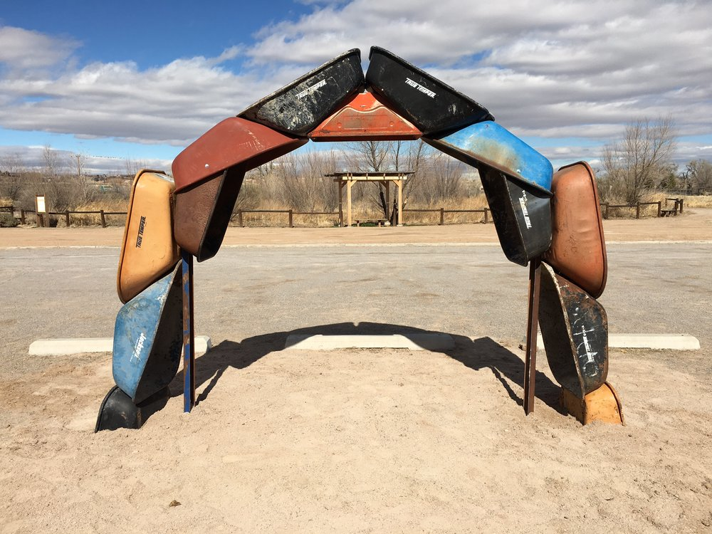 "Joshua Willis, ""Archbarrow,"" A Land Art Earthwork, Steel, Location City of Albuquerque Open Space Visitor Center, 2017"