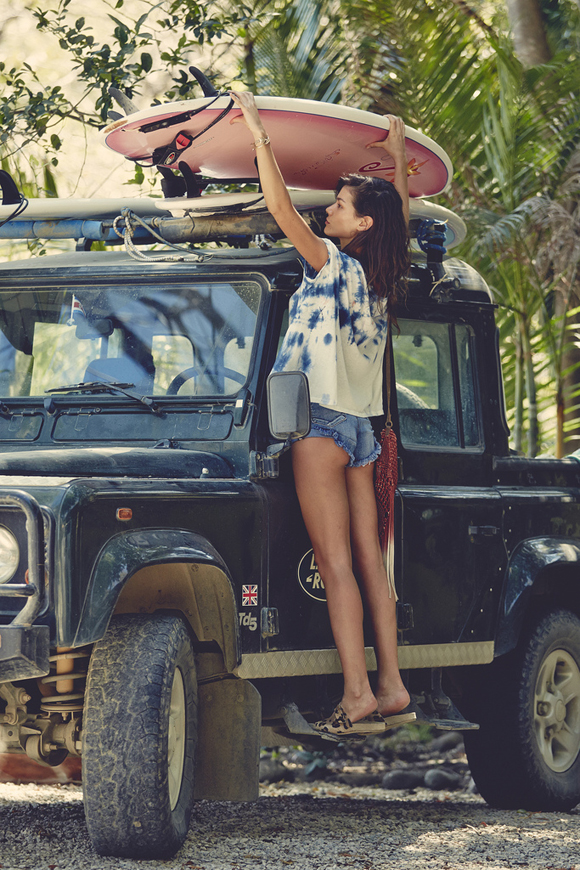 Craving the adventurous life, a dirty truck, worn clothes, surf.  Source .