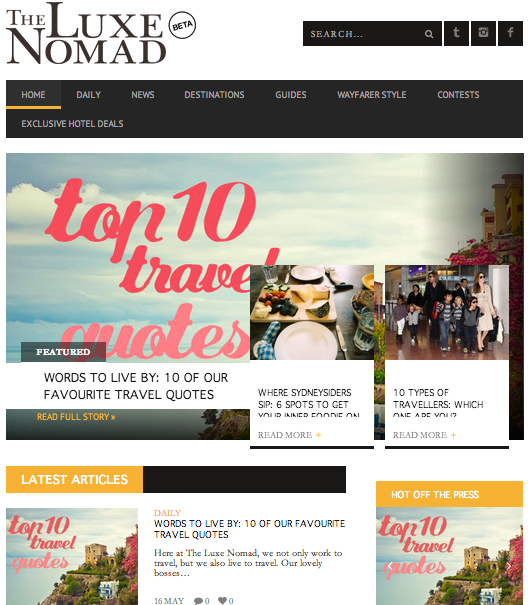 The Luxe Nomad travel blog. More, more, more! Source.