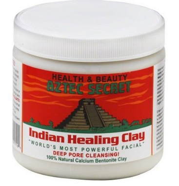 Aztec Secret Indian Healing Clay . I loooove this stuff. If you use it regularly (3-4 times/week) it helps clear acne and even skin tone. I apply it in layers with an old fan-shaped paintbrush.