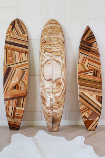 How stunning are these decorative surf boards? Might be a little heavy for surfing, but perfectly beautiful for the home.