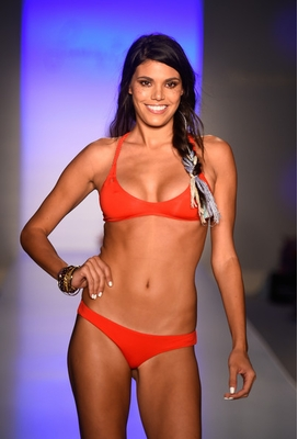 Marina Lava by Frankie's Bikinis. Cool macrame knotted details make this red hot bikini even hotter.