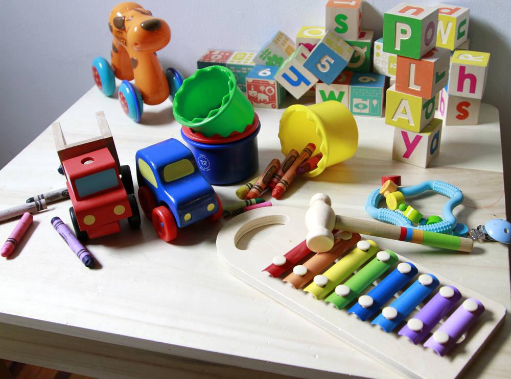 """Play"", featuring my son's play desk and a few of the many toys he chews/bangs/rolls/stacks/sorts."