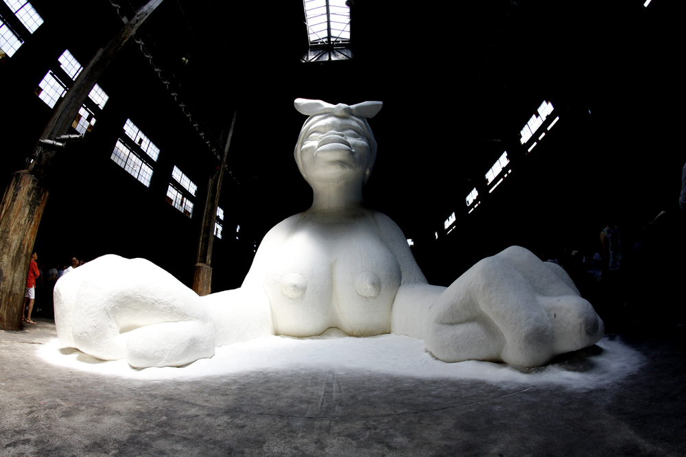 Kara Walker's Sphinx inside of the Domino Sugar Factory in Williamsburg, Brooklyn.