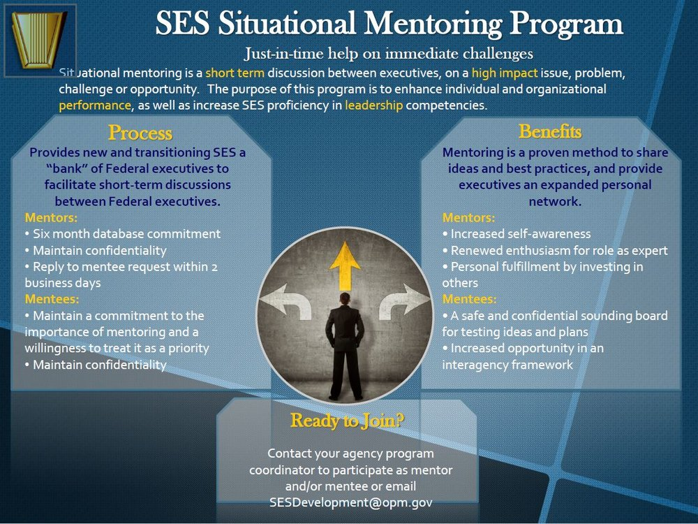 Senior Executive Service Situational Mentoring Program - Federal agencies are required by law (5 U.S.C. 3396) to establish programs for the continuing development of senior executives. One tool OPM developed to help is the SES Situational Mentoring program. SES members interested in being mentored by a federal executive should email SESDevelopment@opm.gov. For more information about the SES Situational Mentoring program please view this VIDEO.