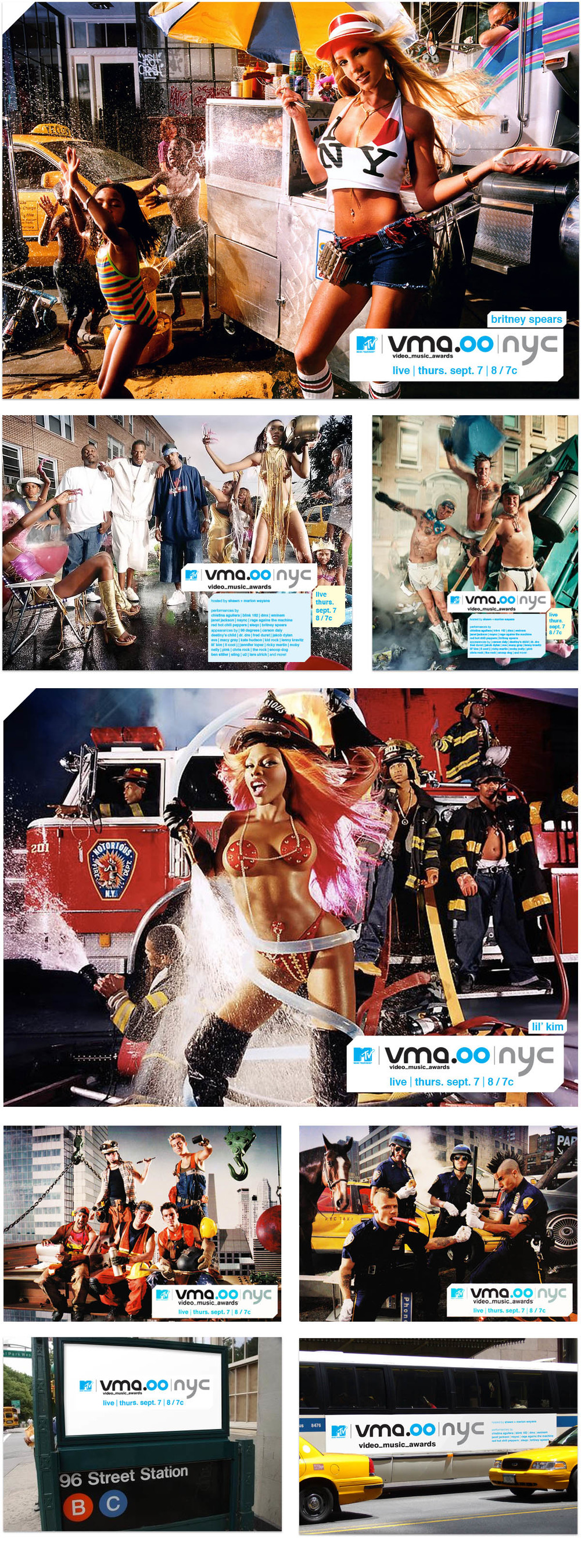 Advertising campaign for the 2000 MTV Video Music Awards. Since it was the first time the VMAs had returned to New York City in several years, the concept was to photograph the artists that would be performing and appearing in classic NYC situations.   Photography by  David Lachapelle