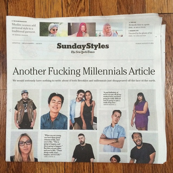 9 out of 10 NY Times articles: Brooklyn or Millennials.