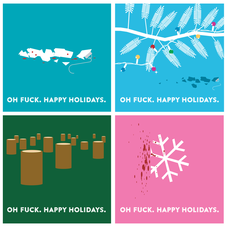 """I've never been sentimental about the holidays. These are some personal """"Happy Holidays"""" cards from 2002."""