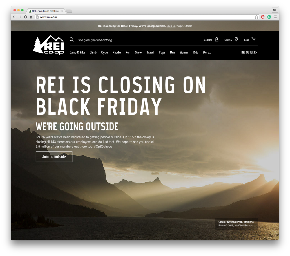 REI inline marketing campaign design direction for our #optoutside campaign.