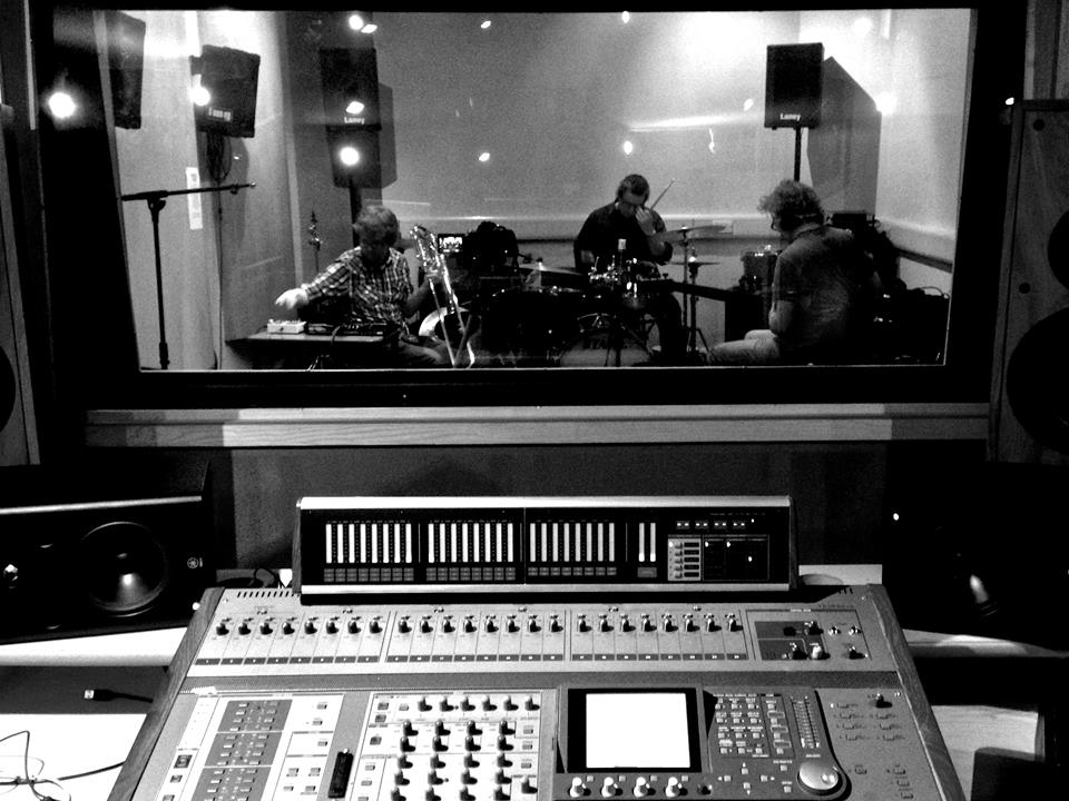 Myself, Andy, and Steve recording in Kidderminster College. Photo courtesy of Rob Groucutt.
