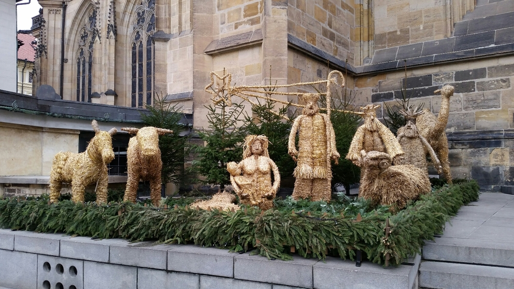 One of the many hay nativity scenes