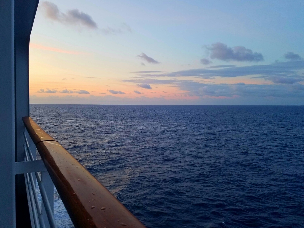 Sunrise at sea.