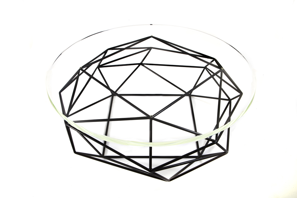 Archimedes coffee table, steel, glass, Matthew Shively