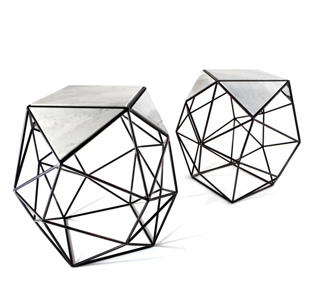 Archimedes side table, steel, marble, Matthew Shively