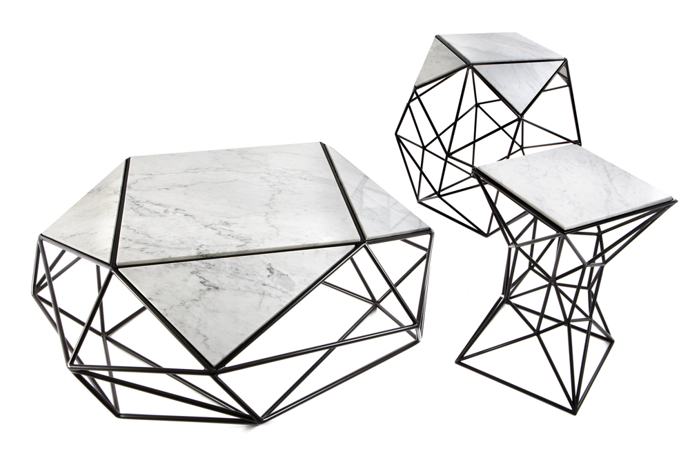 Archimedes coffee table, side table, steel, marble, Matthew Shively
