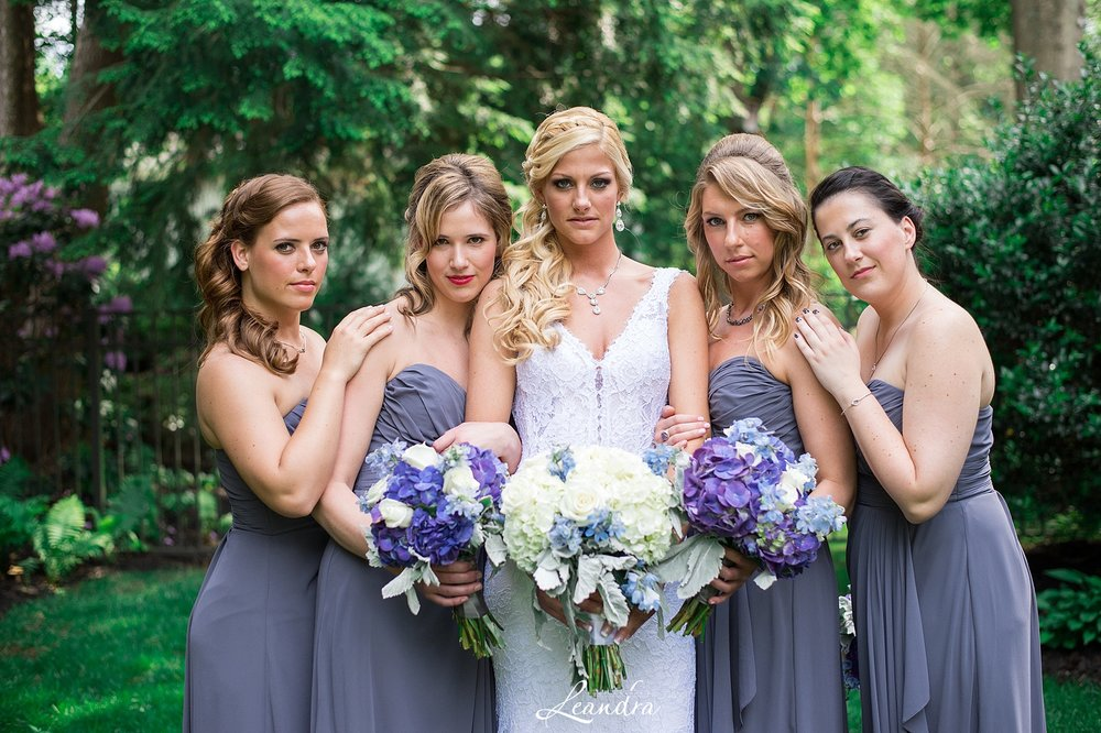 Stunning Bride and her Bridesmaids in pewter gowns