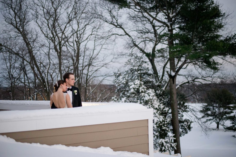 Stonebridge Country Club Bride and Groom in the snow | New York Wedding Photographer
