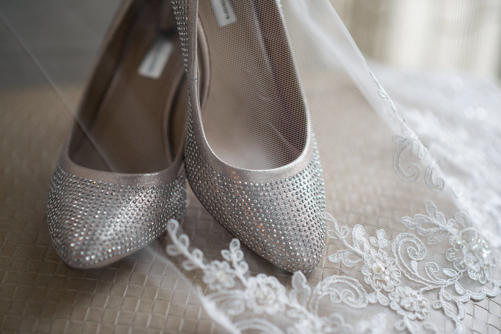 Silver Wedding shoes for the Bride | Washington D.C. Wedding Photographer