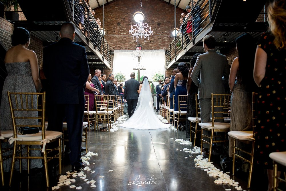 The Foundry Wedding in Long Island City Bride walking down the aisle | New York Wedding Photographer