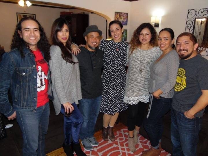 Pictured (L-R): Alexandro D. Hernández Gutiérrez of Aparato/Mariachi Manchester; Angie Kings; Glenn Red of La Junta; Leah Rose Gallegos of Las Cafeteras; host Julieta Isela of The Living Sessions; Prescilla C of La Junta; degruvme of La Junta.  Photo credit: Luis Polanco of Sunset Ecléctico.
