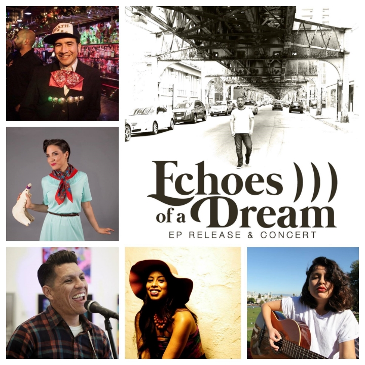 These are our leading ladies and leading men for Friday's ECHOES OF A DREAM ep release party.  Main photo: degruvme.  Pictured counterclockwise from top: Alexandro D. Hernández Gutiérrez of ¡Aparato! / Mariachi Manchester; Leah Rose Gallegos of Las Cafeteras; Hector Flores of Las Cafeteras; Angie Kings, Irene Diaz.