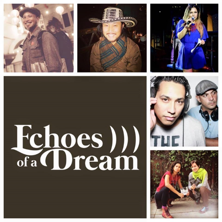 Pictured clockwise from top: DJ Glenn Red of La Junta; DJ Yukicito of La Junta; event host Julieta Isela of The Living Sessions; deejay duo The Funky Brewsterz of Sazón/Cańa Rum Bar; Afro-fusion dancers Rachel Hernandez and Marina Osthoff Magalhães.