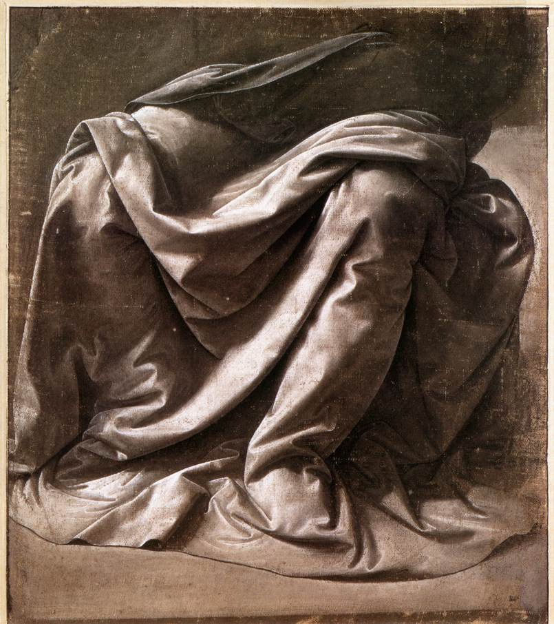 Leonardo da Vinci, Garment study for a seated figure, 1470-84. Brush and grey distemper on grey canvas, 266 x 233 mm. Musée du Louvre, Paris.
