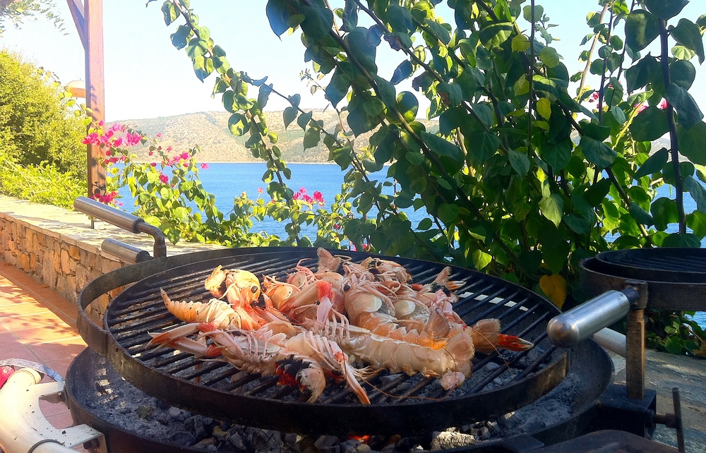 Fresh crayfish on the BBQ at the villa.