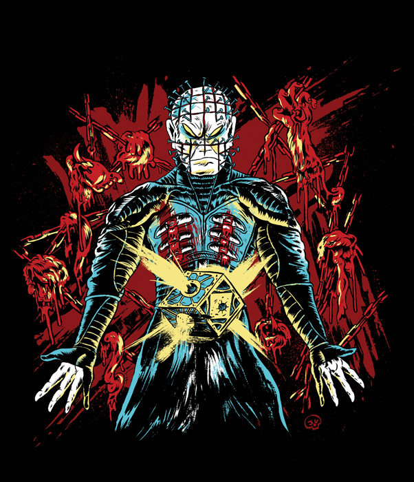 jgillustration: Here's the Hellraiser shirt that I did for this months showing of it and Nightbreed at the Ottobar here in Baltimore!  Shirt pre-orders are available here! DO YOU WANT TO WIN A FREE HELLRAISER SHIRT??  Pizza Party Printing is having a contest this week and will be giving away 2 free shirts!  There are 2 ways to win: either reblog this photo with all of the text intact, or start following the Pizza Party Printing Tumblr, or DO BOTH.  We'll pick 2 winners on Friday, the 29th at 9pm!  Do it or I'LL TEAR YOUR SOUL APART! Love.